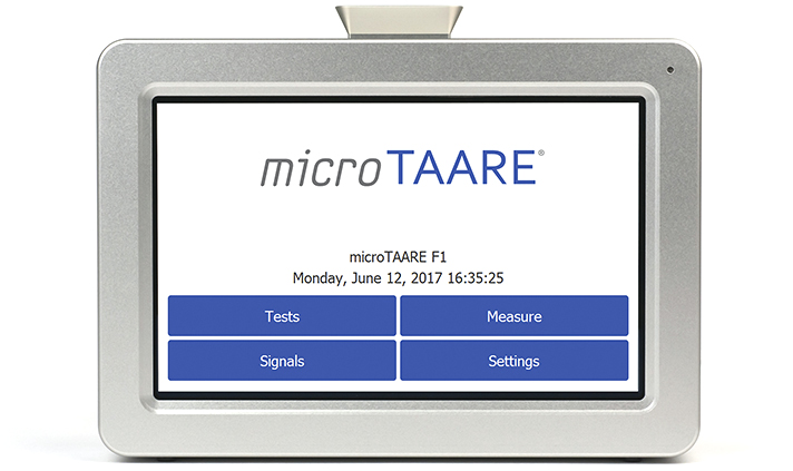 microTAARE F1 frontview with start screen